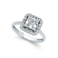 14k Yellow OR White Gold Halo Princess CZ Engagement Ring Square CZ Band Bridal