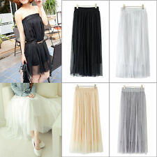 Women Ladies Multilayer Sexy Elastic Waistband Tulle Midi Skirt Ball Gown Dress