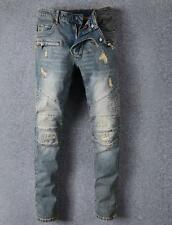 2017 New Mens Slim Denim Zipper Pants Ripped Washed Jeans Personality Trousers