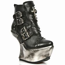 Newrock Ext004 New Ladies Black Leather Boots Extreme Wedge Platform Goth Rock