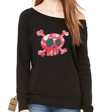 Pink Camo Skull and Crossbones Slouchy Off Shoulder Oversized Sweatshirt