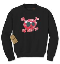 Pink Camo Skull and Crossbones Adult Crewneck Sweatshirt