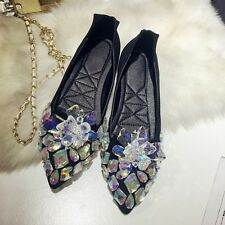 Womens Luxury Rhinestones Flats Real Leather Pointy Toe Casual Shoes Oxfords New