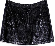 ZARA BEAUTIFUL BLACK SEQUIN BEADED EMBROIDERED EMBELLISHED MINI SKIRT NEW