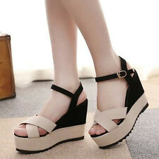 Hot Womens High Heels Platform Shoes Buckle Ankle Strap Open Toe Wedge Sandals
