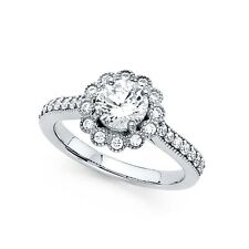 14k Yellow OR White Gold Flower CZ Engagement Ring Round Solitaire Band Floral