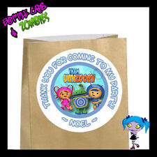 Team UmiZoomi BLUE Party Favor Goody Bag STICKERS - Personalized Loot Bag Labels