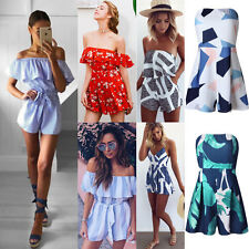 Womens Summer Holiday Mini Playsuit Girls Jumpsuit Beach Shorts Size S-XL