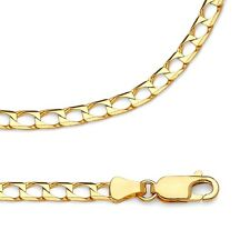 Square Curb Chain Solid 14k Yellow Gold Necklace Diamond Cut Link , 3.4 mm