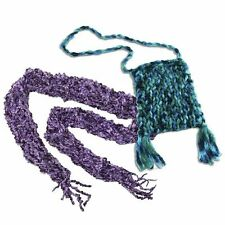 Spin Master Knit's Cool Skinny Scarf or Tote Purse Create & Wear Kit Purple Blue