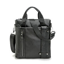 Men's Handbags Leather Shoulder Tote Bag Vertical Briefcase Messenger Crossbody