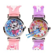 DISNEY THE MARIE CAT  3D GRAPH SOFT BAND CHILD WATCH PINK / PURPLE  MA-3K1119P