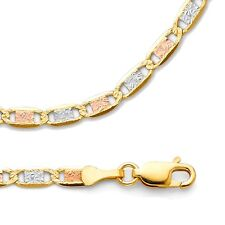 Valentino Chain Solid 14k Yellow White Rose Gold Necklace 3 Color , 3.3 mm