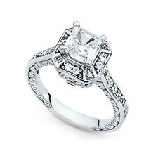 14k Yellow OR White Gold Princess CZ Engagement Ring Vintage Style Square CZ