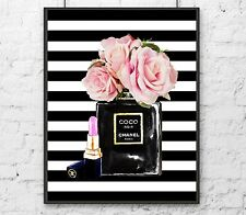 Coco Chanel Noir perfume with pink Roses and pink chanel lipstick art print