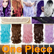 USA Long Real Straight Curly One Piece Clip in on Hair Extensions Thick Soft T2