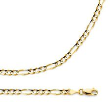 Solid Figaro Necklace 14k Yellow Gold Chain Open  3 + 1 Links  , 4 mm