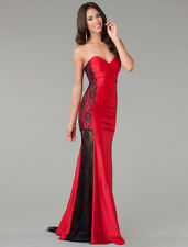 Sexy Women Lace Crochet Strapless Bodycon Long Trailing Maxi Evening Dress Gown