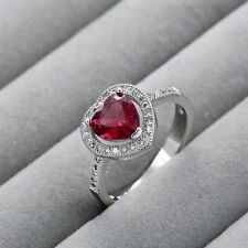 Women Men 925 Silver Jewelry Heart 1.2CT Ruby Wedding Engagement Ring Size 6-10