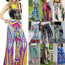 Boho Women's Casual Loose Stretch High Waist Wide Leg Palazzo Long Printed Pants