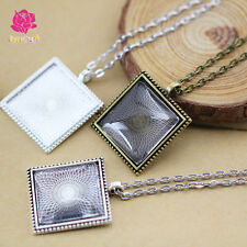 25mm Square Bezel Blank Pendant Settings + Rolo Chain Necklace + Glass Domed