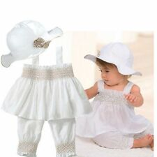 3pcs summer Baby Girl Kids White Newborn Ruffle Hat+Top+Pants Set Outfit Clothes