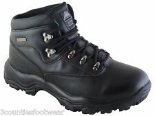 MENS WALKING  BOOTS WATERPROOF HIKING BOOTS BLACK LEATHER - CLEARANCE