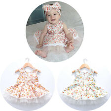 Cute Toddler Baby Girl Princess Floral Summer Dress Party Birthday Tulle Skirt