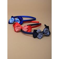 Satin Aliceband With Double Gingham Check Fashionable Head Bow Band in 3 Colours