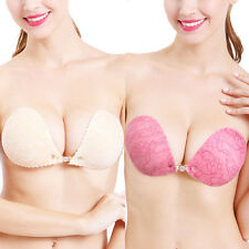 Ladies Silicone Stick On Push Up Gel Strapless Backless Invisible Bra Nubra AU