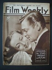 EDMUND LOWE in FILM WEEKLY (1937) with CLARK GABLE, JOAN CRAWFORD cover