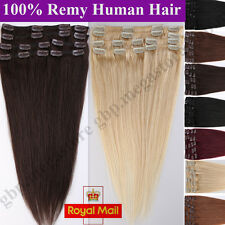 UK Remy Hair 8 PICS Thick Clip In 100% Real Human Hair Extensions Full Head A326