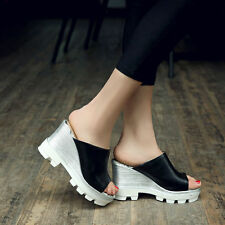 Ladies Womens Gothic High Heels Platform Leather Shoes US Size New