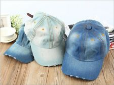 New Unisex Vintage Distressed Flat Cap Denim Hat Baseball Jean Hat Cap