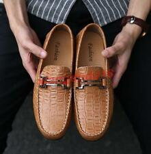 Mens Casual Snakeskin Leather Driving Moccasins Slip on Loafers Shoes New Size @