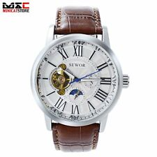 Moon Phase Mens Automatic Mechanical Wrist Watch Tourbillon Steel Date Analog US