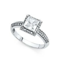 14k Yellow OR White Gold Princess CZ Halo Engagement Ring Vintage Style CZ Band