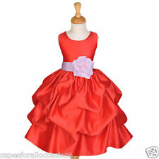 RED FLOWER GIRL DRESS CHRISTMAS PARTY HOLIDAY PAGEANT RECITAL WEDDING 2 4 6 8 10