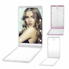 LED Makeup Mirrors Mini Portable Folding Compact Hand Cosmetic Make Up XC