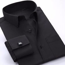 Nice!! Mens Long-sleeved Non-iron Cufflinks Solid Business Dress Shirt 9 Colors