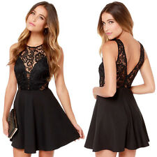 Sexy Women Black Lace Backless Evening Party Slim Cocktail Short Mini Dress