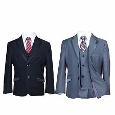 Boys Suits All in One 5 PC Wedding Prom Pageboy Black Grey Piping Kids Teen Suit