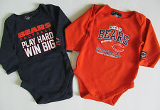 Lot of 2 Unisex Baby 3/6 Months NFL Chicago Bears Long Sleeve One-Piece Sleepers