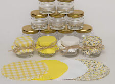 Shabby Chic 10-100 Yellow Vintage Personalised Mini Jam Jars Wedding Favours