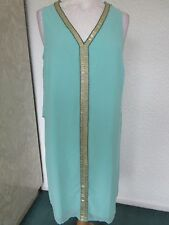 qvc bnwt Biba art deco floaty beaded chiffon dress in duck egg blue sizes 12 +14