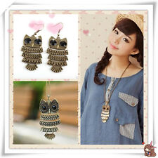 Vintage Ladies Cute Cool Owl Earring Rings Necklace Jewelry Party Daily Gift G