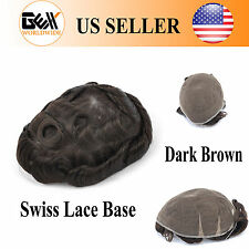 GEX Toupee Mens Hairpiece Swiss Lace Replacement System Human Hair Dark Brown 2#