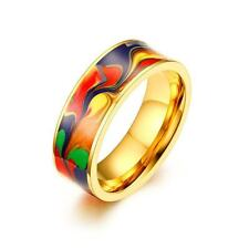 18K Gold Plated Enamel Ring Stainless Steel Men's Jewelry Wedding Band Size 7-12