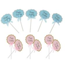 10x Happy Birthday Cupcake Picks Cake Toppers Baby Shower Party Decor