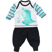 Lullaby Baby Boys Cute Dinosaur Rawrr! Long Sleeve Cotton Striped Pyjamas Navy